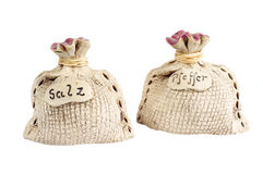 Spice shakers. Salt and pepper shaker over a white background Royalty Free Stock Image