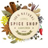 Spice shop emblem. Spice shop paper emblem with different spices Royalty Free Stock Images