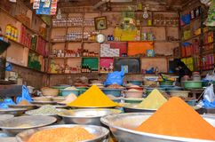 A Spice Shop in Food Street, Lahore, Pakistan. The Famous Spices of Pakistan getting sold in the pictures shop Stock Photo