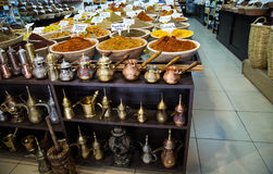 Spice shop on the market in Jerusalem . Various colored spices on the market in old city of Jerusalem Royalty Free Stock Photo