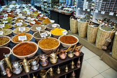 Spice shop on the market in Jerusalem . Various colored spices on the market in old city of Jerusalem Stock Photos