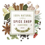 Spice shop paper emblem with different spices Royalty Free Stock Image