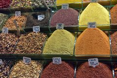 Spice sold on market. Spices at the spice market in Istanbul Royalty Free Stock Photography