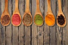 Spice. Food indian culture spoon organic cutting board vegetarian food Stock Photo