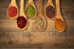 Spice. Food indian culture spoon organic cutting board vegetarian food Royalty Free Stock Images