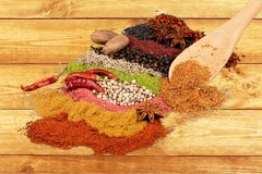 Spice. Indian culture india food curry powder variation condiment Royalty Free Stock Photography