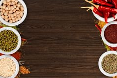 Spice. Indian culture pepper food ground cinnamon curry powder Stock Photography