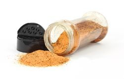 Spice Spilling Jar Cover. Spice spilling from jar and black lid Royalty Free Stock Photography