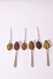 Spice Spoons. Six different whole spice seeds in silver spoons on a white background Stock Photography