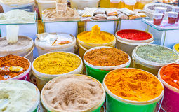 The spice store in Deserter`s Market in Tbilisi. The market stall in Deserter`s Bazaar offers wide range of tasty spices, including Svanetian salt, curkuma Stock Image