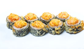 Spice sushi with sauced slices Royalty Free Stock Photos