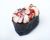 Spice sushi with sauced slices Royalty Free Stock Photo