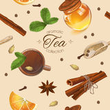 Spice tea seamless pattern. Vector aromatic tea seamless pattern with honey, mint and cinnamon. Design for tea, natural cosmetics, baking,candy and sweets Stock Images