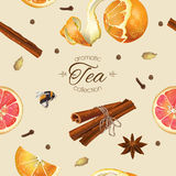 Spice tea seamless pattern. Vector spicy tea seamless pattern with orange ,star anise and cinnamon. Design for tea, natural cosmetics, baking,candy and sweets Stock Images