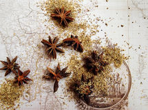 India Spice trade history concept image. A conceptual still life photograph showing some star anise spices and tea leaves on an antique map of India and Ceylon stock photography