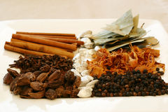 Spice Tray. An assortment of fragrant, richly flavored spices - bay leaves, mace, peppercorns, black pepper, silver cardamom pods, cloves and cinnamon. Focus on stock images