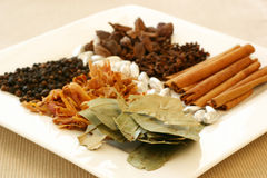 Spice Tray. An assortment of fragrant, richly flavored spices - bay leaves, mace, peppercorns, black pepper, silver cardamom pods, cloves and cinnamon. Focus on royalty free stock photography