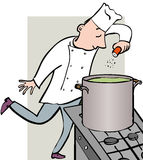 Spice up. Chef adding spices to large cooking pot Royalty Free Stock Photography
