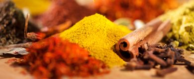 Spice. Various indian spices and herbs colorful background. Assortment of seasonings stock photo