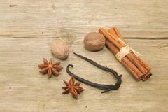 Spice on wood Royalty Free Stock Images