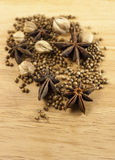 The spice on the wood. The brown spice on the wood Royalty Free Stock Image