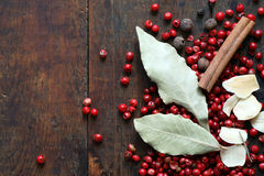 Spice On Wood Stock Photography