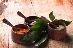 Spice. On a wooden table Royalty Free Stock Images