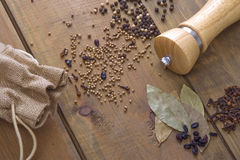 Spice on the wooden table Royalty Free Stock Image
