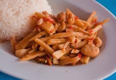 Spiced цыпленок с бамбуковыми всходами, рис Стоковое фото RF