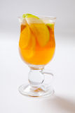 Spiced apple cider. Hot cocktail in the glass Stock Images