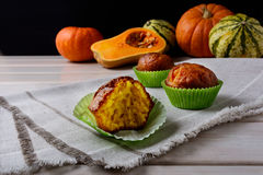 Spiced Butternut Squash Muffins In The Green Wrappers Royalty Free Stock Photo