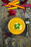 Spiced carrot and coriander soup Stock Images