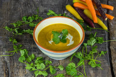 Spiced carrot and coriander soup Royalty Free Stock Photography