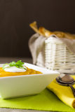 Spiced Carrot and Lentil soup with steam Stock Images