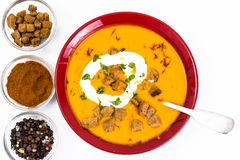 Spiced carrot puree with croutons Stock Photography