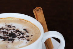 Spiced coffee. A cup of fresh cappuccino with cocoa and cinnamon royalty free stock photos