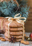 Spiced cookies with almonds. Christmas gifts. Round cookies, tied with ribbon Royalty Free Stock Photography