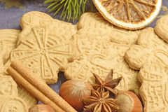 Spiced cookies with ingredients Royalty Free Stock Photo