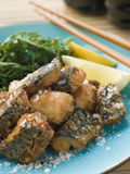 Spiced Fried Mackerel with Lemon Royalty Free Stock Image
