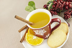 Spiced Fruit Wassail Punch. A cup of hot spiced fruit Wassail holiday punch with a cinnamon stick and homemade sugar cookie Stock Images