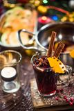 Spiced hot Christmas festive red wine.  Royalty Free Stock Image