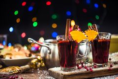 Spiced hot Christmas festive red wine.  Royalty Free Stock Images