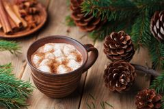 Spiced hot cocoa with marshmallows on rustic wooden table decorated pine cone and fir tree. stock images