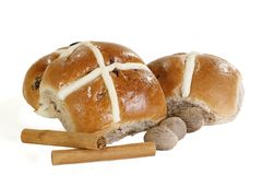 Spiced hot cross buns Stock Photos