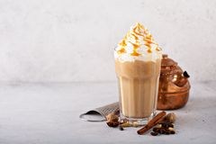 Spiced iced chai latte royalty free stock photo