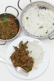 Spiced lamb with chillies from above Stock Photos