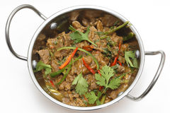 Spiced lamb with chillies high angle Royalty Free Stock Photography