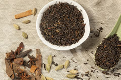 Spiced Masala Tea with Ingredients Stock Image