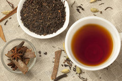 Spiced Masala Tea with Ingredients Stock Photo