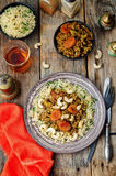 Spiced mince with dried apricots, cashew nuts and couscous. Moro Royalty Free Stock Image